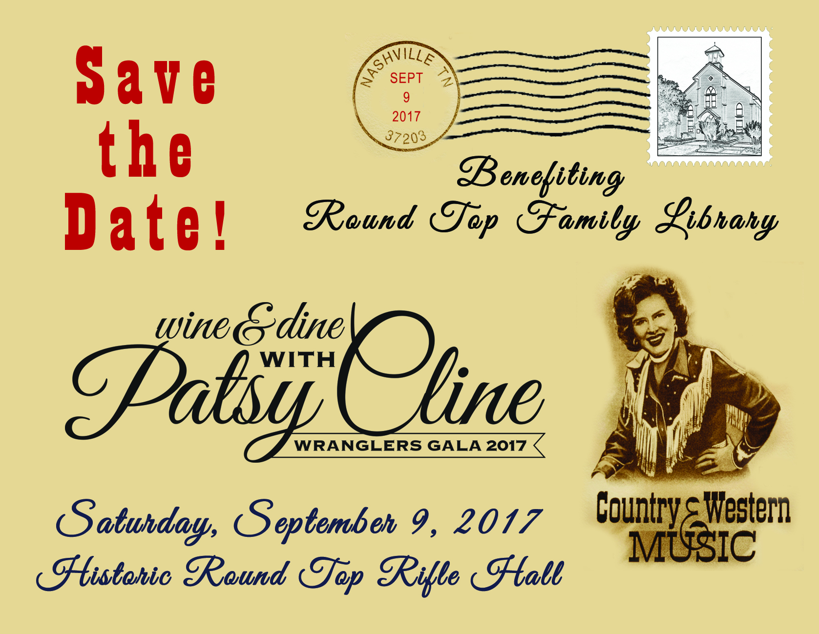 Wrangler Gala 2017 - wine & dine with Patsy Cline - Round Top Family Library