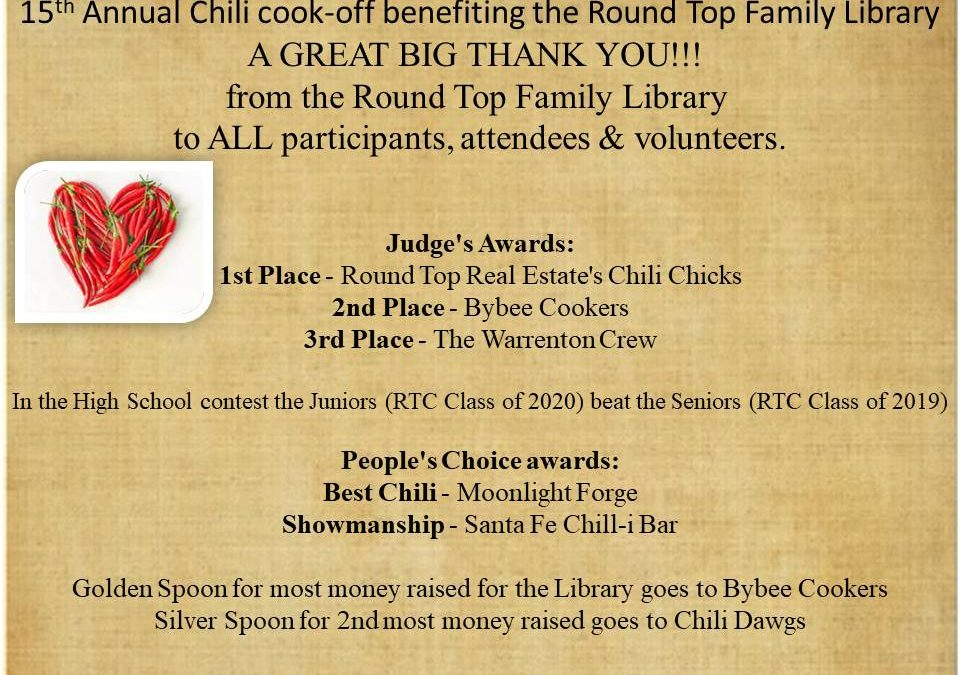 A GREAT BIG THANK YOU!!!  from the Round Top Family Library  to ALL participants, attendees & volunteers